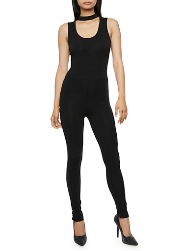 Solid Choker Neck Jumpsuit,BLACK,large