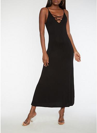 Caged V Neck Maxi Dress,BLACK,large
