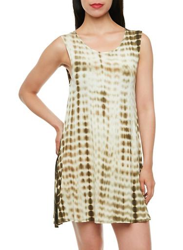 Tie-Dye Print Tank Dress with Asymmetrical Hem,OLIVE,large