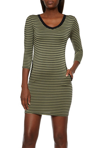 Striped Bodycon Dress with Front Pockets,OLIVE BLK,large