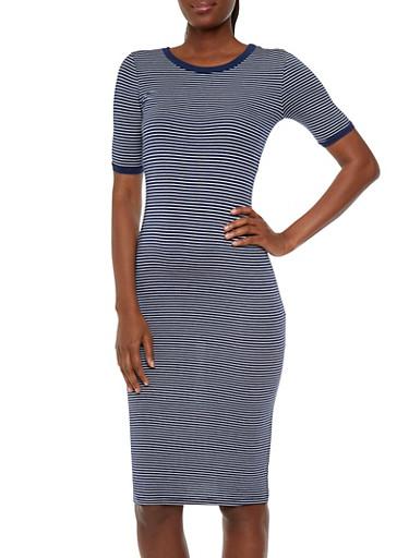 Striped Bodycon Ringer T-Shirt Dress,NAVY/WHITE,large
