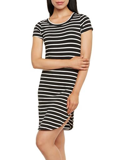 T-Shirt Dress in Stripes,BLACK/WHITE,large