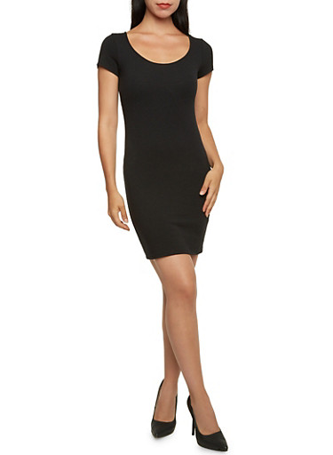 Bodycon Mini Dress with Short Sleeves,BLACK,large