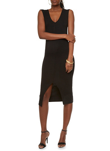 Rib-Knit Dress with Scoop Neck and Center Slit,BLACK,large