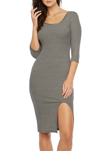 Striped Bodycon Dress in Ribbed Knit,BLACK/WHITE,large