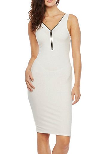 Ribbed Midi Dress with Zippered Racerback,WHITE,large