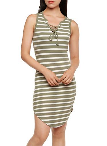 Striped Lace-Up Dress,OLIVE WHT,large