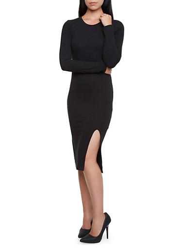 Ribbed Midi Dress with Asymmetrical Slit,BLACK,large