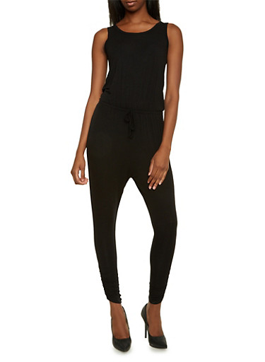 Knit Jumpsuit with Plunging Back,BLACK,large