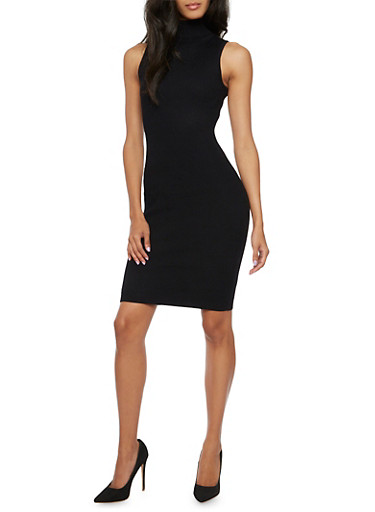 Rib Knit Bodycon Dress with Turtleneck,BLACK,large