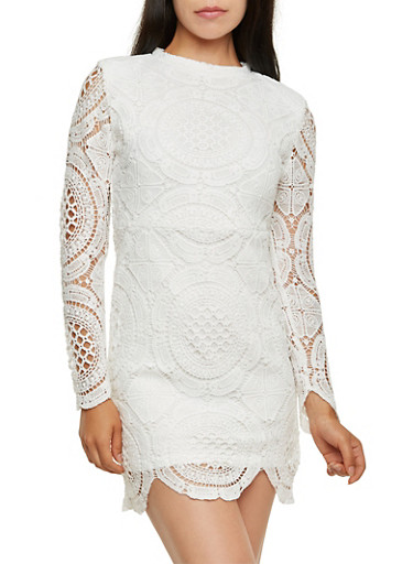 Crochet Bodycon Dress with Mock Neck,WHITE,large