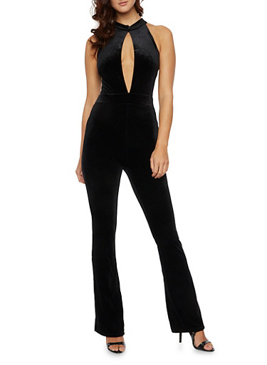 Sleeveless Velvet Jumpsuit with Cutout,BLACK,large