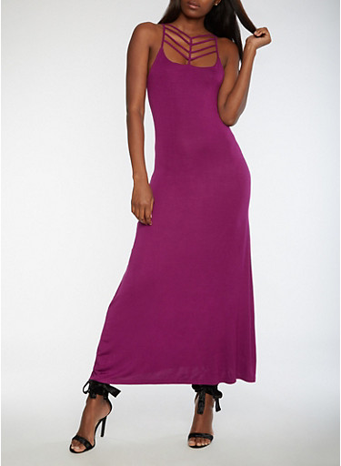 Caged Neck Maxi Dress,GRAPE,large