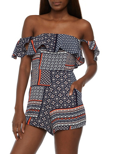 Printed Off the Shoulder Flutter Sleeve Romper,CORAL,large