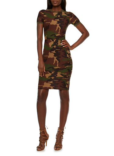 Mini Ringer Dress in Camo Print,CAMOUFLAGE/BLK,large