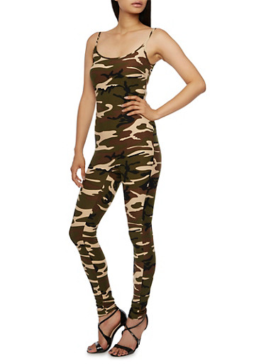 Camo Print Jumpsuit with Scoop Neck,CAMOUFLAGE,large