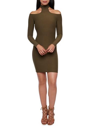 Choker Neck Mini Dress,OLIVE,large