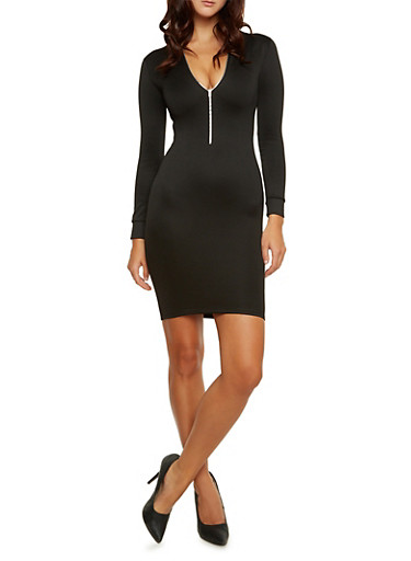 Zip Front Mini Bomber Dress with Long Sleeves,BLACK,large