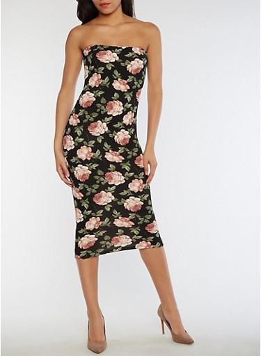 Floral Mid Length Tube Dress,BLACK EMERALD,large