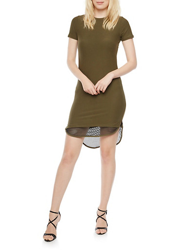 Bodycon Dress with Mesh Trim,OLIVE,large