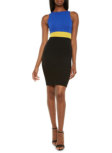 Colorblock Crepe Dress,ROYAL,large