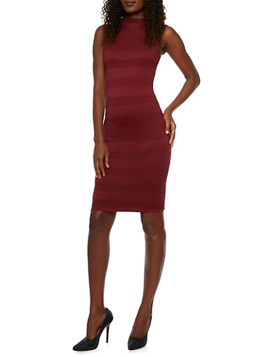Sleeveless Knit Midi Dress with Textural Stripes,BURGUNDY,large