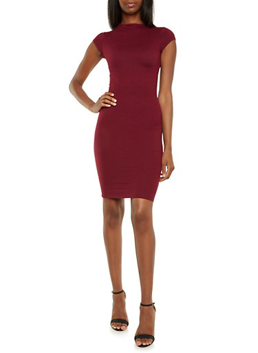Brushed Knit Midi Dress,WINE,large