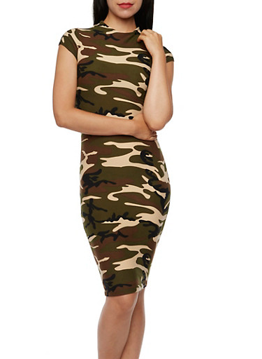 Bodycon Midi Dress in Camo Print,CAMOUFLAGE,large