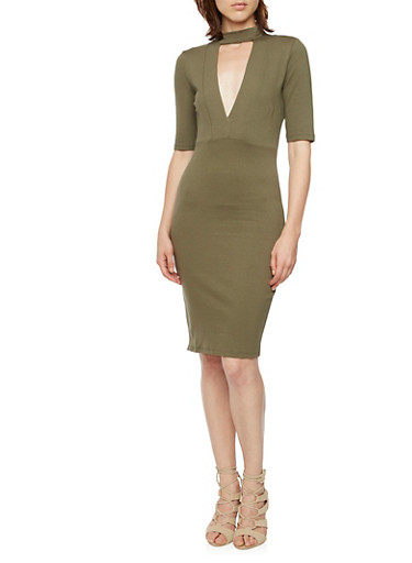 Stretch Knit Midi Dress with Cutout,OLIVE,large