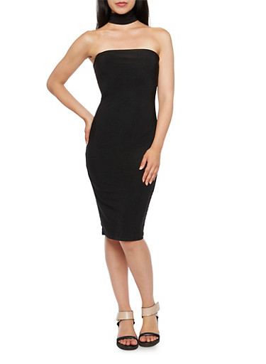 Strapless Dress with Neck Strap,BLACK,large