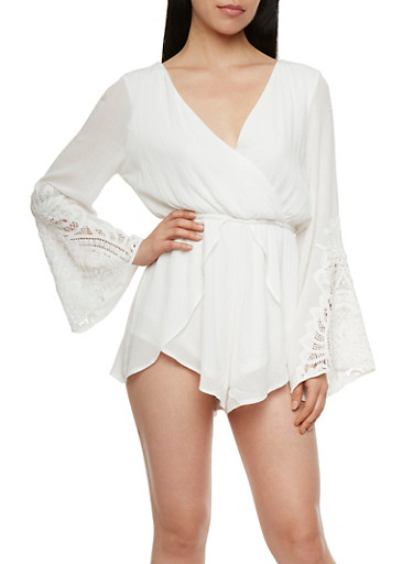 Textural Romper with Crochet Sleeves and a Plunging Neckline,WHITE,large