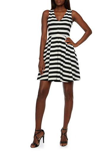 Striped A-Line Midi Dress,BLACK/WHITE,large