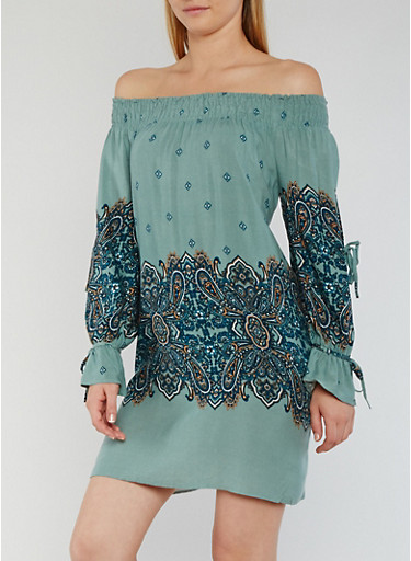 Off the Shoulder Border Print Dress with Split Sleeves,SAGE,large