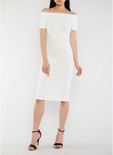 Off the Shoulder Midi Bandage Dress,IVORY,large