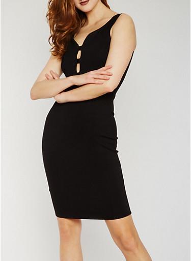 Sleeveless Caged V Neck Midi Dress,BLACK,large