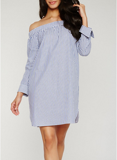 Off the Shoulder Striped Long Sleeve Dress,NAVY,large