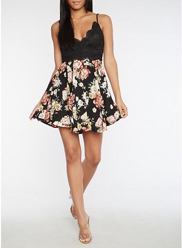 Crochet Floral Skater Dress,BLACK,large
