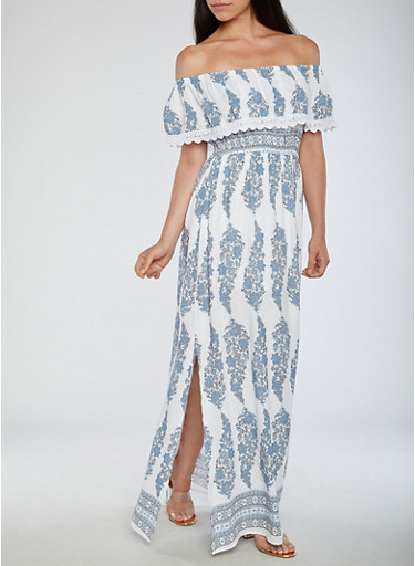 Off the Shoulder Printed Maxi Dress,WHITE/BLUE,large