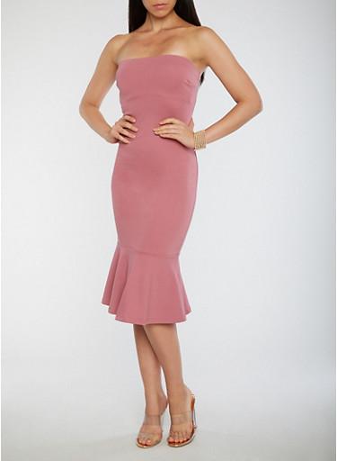 Strapless Flared Hem Bodycon Dress,MAUVE,large