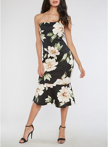 Floral Print Tube Midi Dress with Flounce Hem,BLACK,large