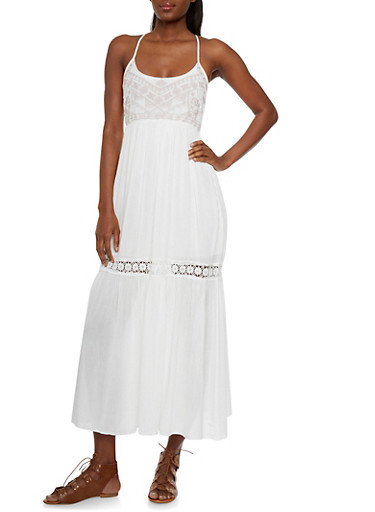 Boho Maxi Dress with Knit Aztec Print Top and Crochet,WHITE,large