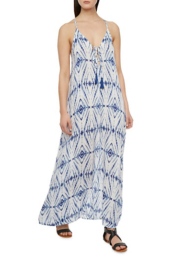 Printed Maxi Dress with Lace-Up Neckline,BLUE,large