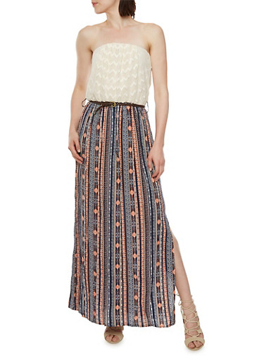 Strapless Maxi Dress with Crochet Top and Printed Skirt,NAVY,large