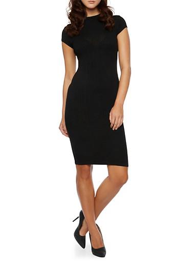 Ribbed Midi Dress with Mock Neck,BLACK,large