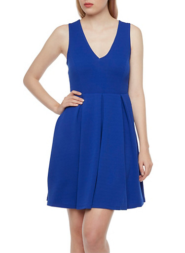 Sleeveless Pleated Dress with V-Neck,ELECTRIC BLUE,large