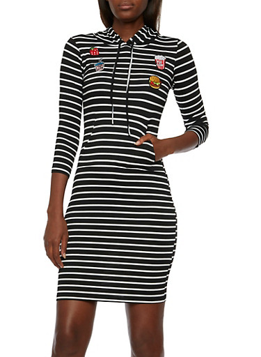Striped Mini Dress with Patches and Hood,BLACK/WHITE,large