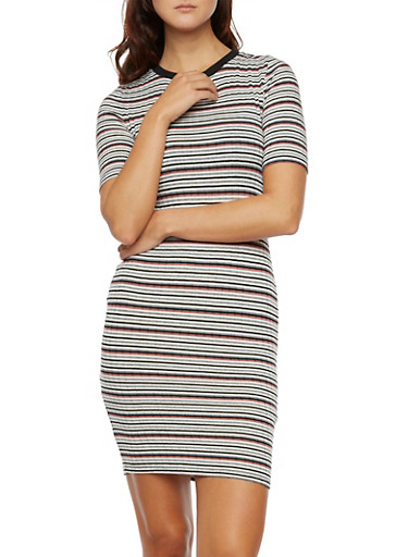 Striped T-Shirt Dress with Short Sleeves,MAUVE,large