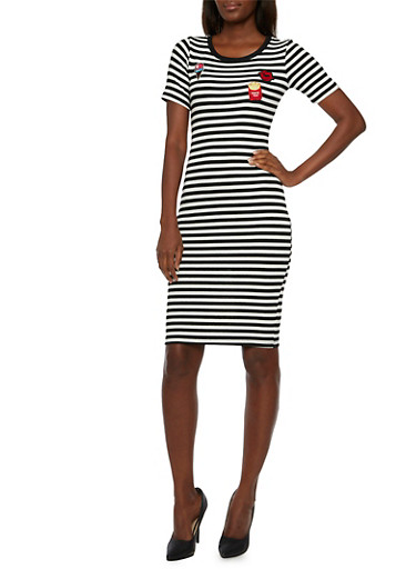Striped T-Shirt Dress with Cheeky Patches,BLACK/WHITE,large