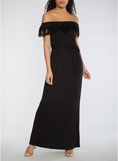 Crochet Trim Off the Shoulder Maxi Dress,BLACK,large