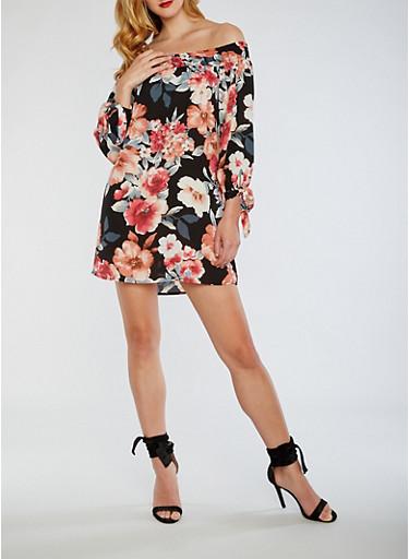 Off The Shoulder Floral Dress with Tie Sleeves,BLACK,large